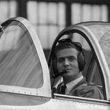 El Rey Juan Carlos en un avión del ejército