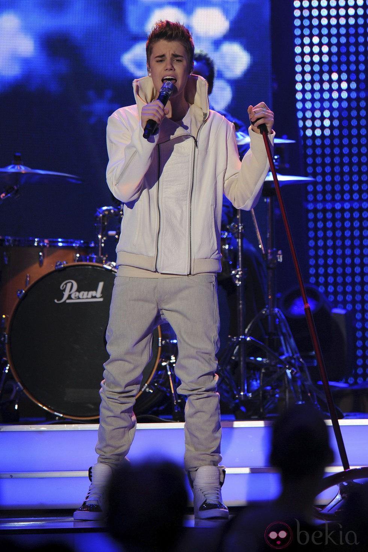 Justin Bieber durante su actuación en los Premios Bambi 2011