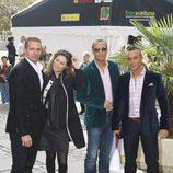 La cantante Tamara y Luis Rollán con sus maridos en el bautizo de la hija de Chayo Mohedano