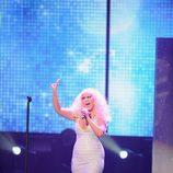Christina Aguilera en la actuación de 'Moves Like Jagger'