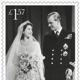 Sello conmemorativo de la boda de la Reina Isabel y el Duque de Edimburgo por su 70 aniversario