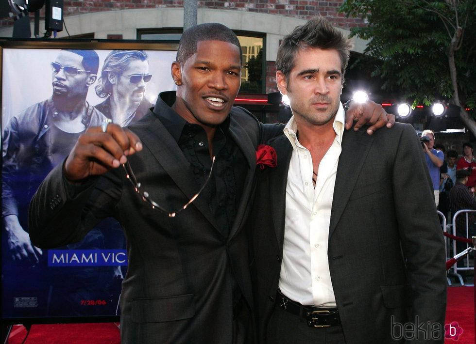 Jamie Foxx y Colin Farrell en el estreno de 'Miami Vice'