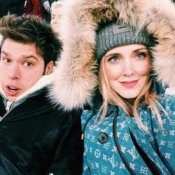 Chiara Ferragni y su novio Fedez en un día de invierno