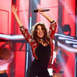 Ana Guerra durante su actuación en la Gala 8 de 'OT 2017'