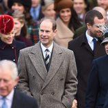 El Príncipe Eduardo, Autumn Kelly y la Princesa Ana en la Misa de Navidad 2017 en Sandringham