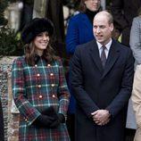 El Príncipe Guillermo y Kate Middleton en la Misa de Navidad 2017 en Sandringham