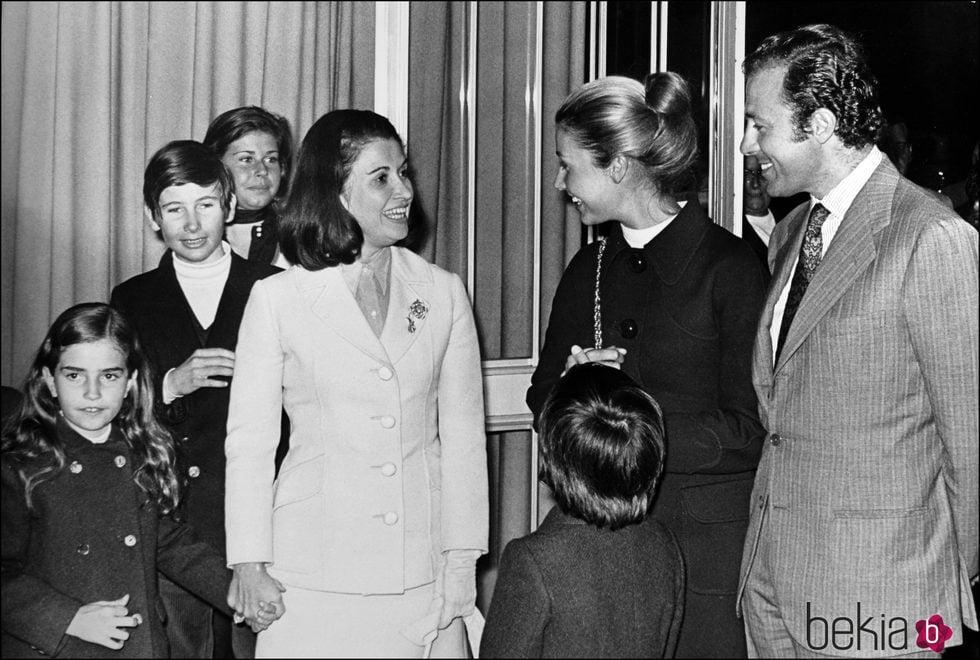 Carmen Franco junto a sus hijos