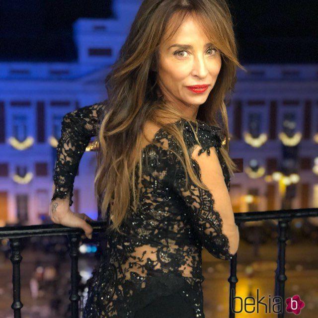 María Patiño en el balcón donde dio las Campanadas