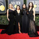 Eva Longoria, Reese Witherspoon, Salma Hayek y Ashley Judd en la alfombra roja de los Globos de Oro 2018