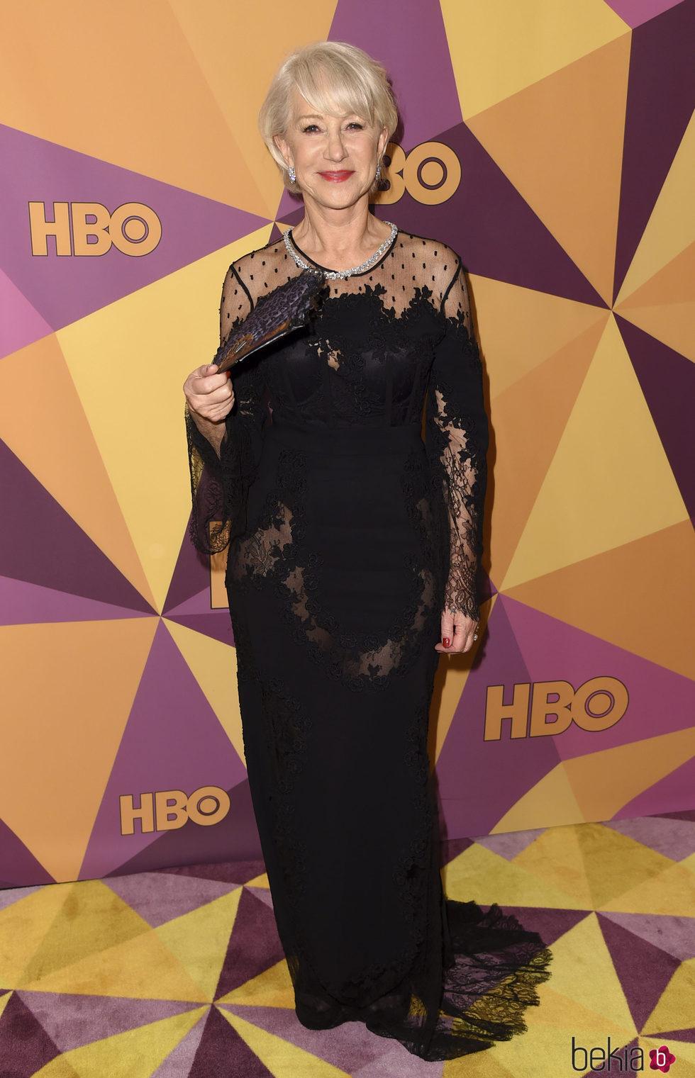 Helen Mirren en la fiesta HBO tras los Globos de Oro 2018