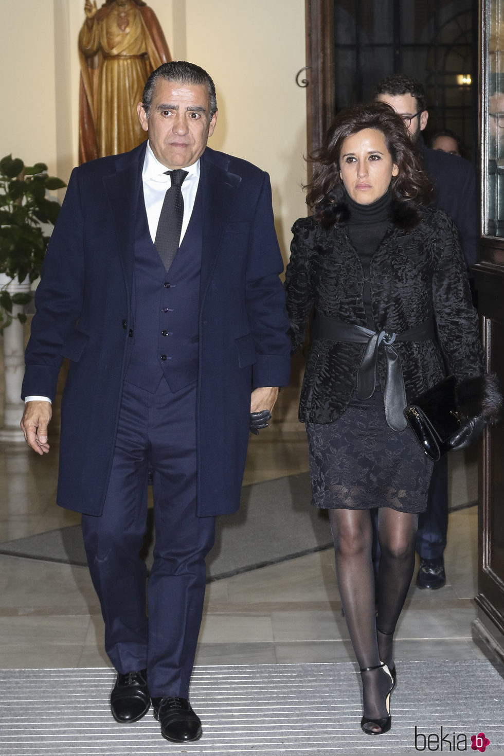 Jaime Martínez-Bordiú y Marta Fernández en el funeral de Carmen Franco