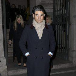Julián Porrás en el funeral de Carmen Franco