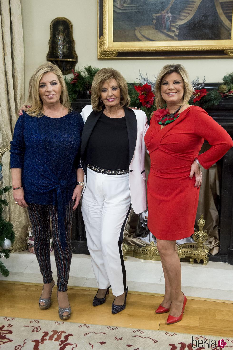 María Teresa Campos, Terelu y Carmen Borrego en la presentación de 'Las Campos'