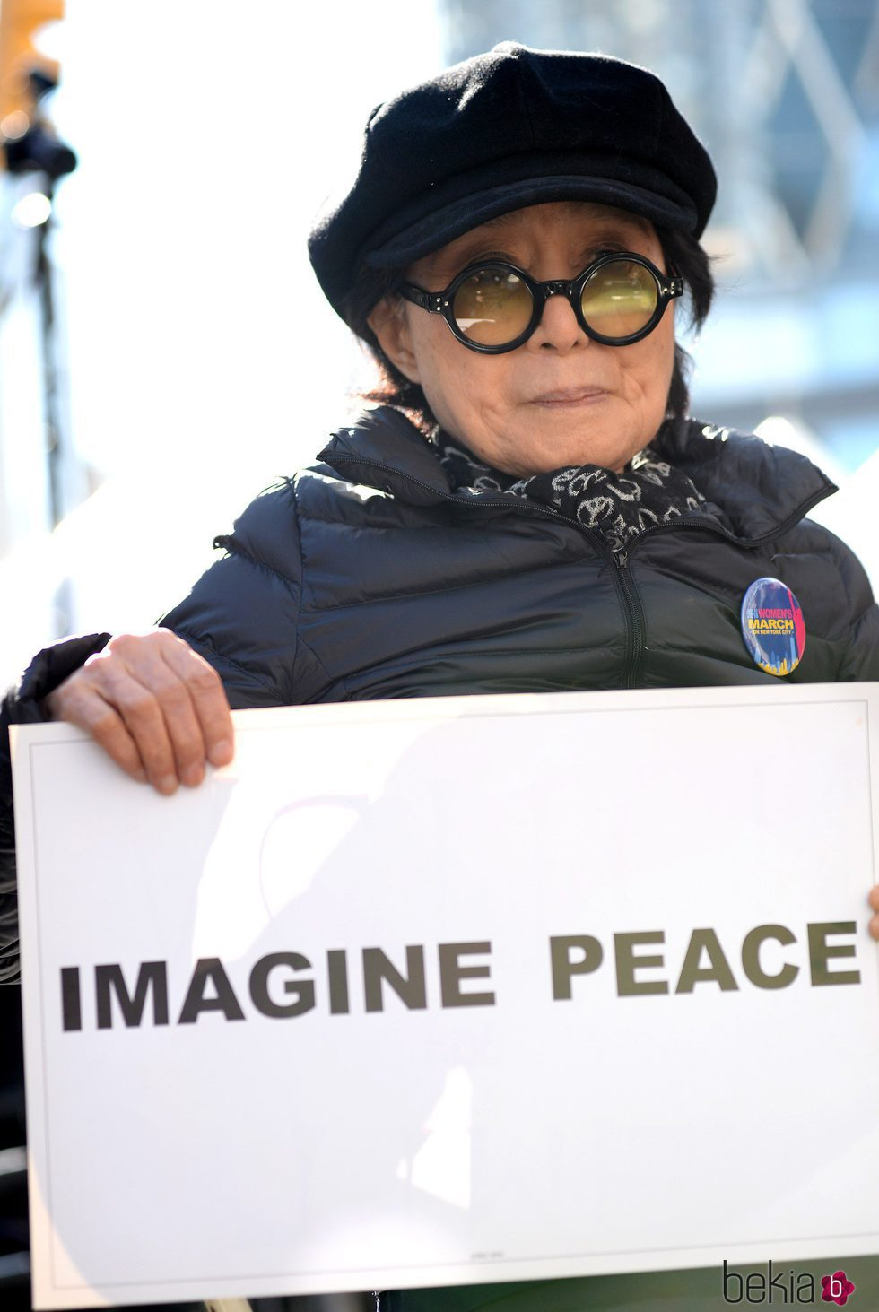 Yoko Ono en la Marcha de las Mujeres en Nueva York