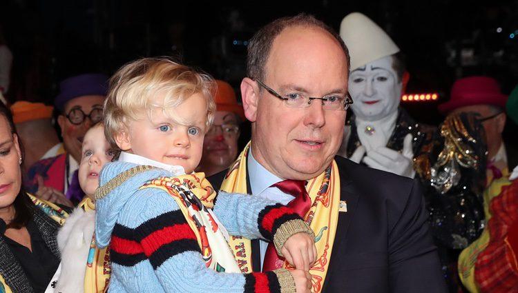 Alberto de Mónaco con su hijo Jacques en el Festival de Circo de Monte-Carlo 2018