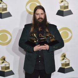 Chris Stapleton con sus tres Premios Grammy 2018