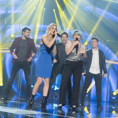 Ricky, Roi, Raoul, Marina y Nerea durante la gala de elección de Eurovisión en 'OT 2017'