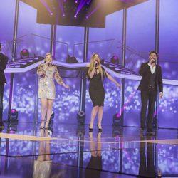 Juan Antonio, Thalía, Mimi, Cepeda y Mireya en la gala de elección de Eurovisión en 'OT 2017'
