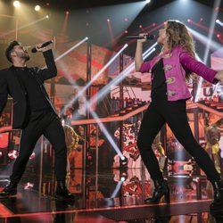 Agoney y Miriam en la actuación de la elección de Eurovisión de 'OT 2017'