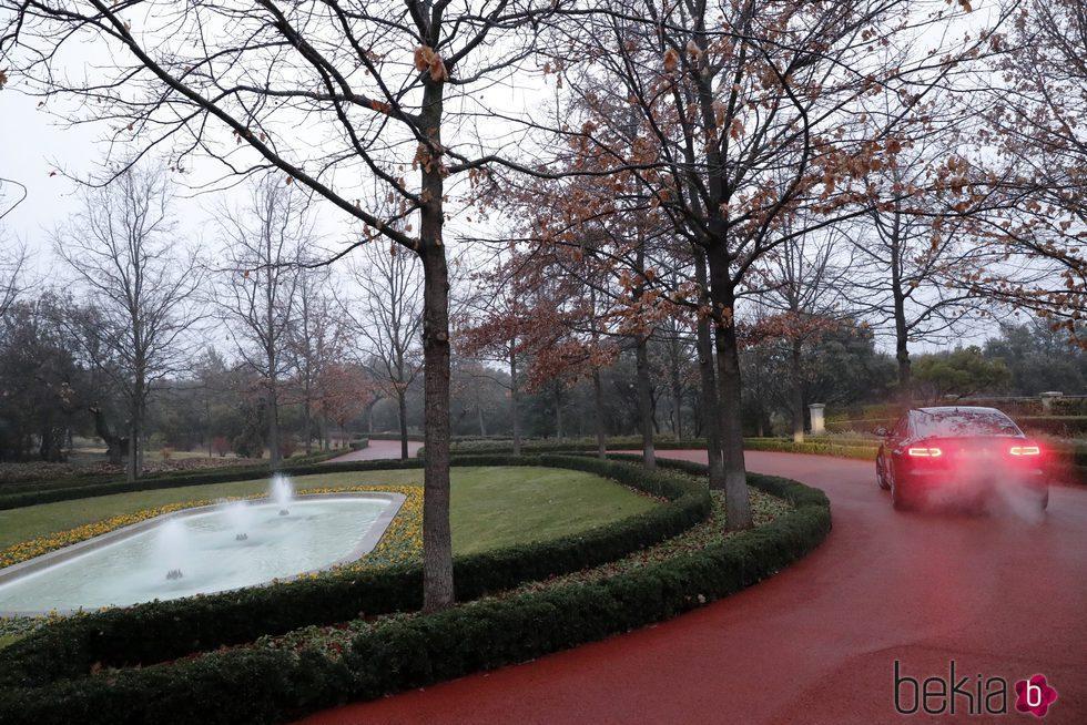 Vista del jardín principal de la residencia de los Reyes Felipe y Letizia