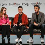 Alfred, Amaia y Roberto Leal en la primera rueda de prensa de Eurovisión 2018