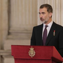 El Rey Felipe da un discurso tras imponer el Toisón de Oro a la Princesa Leonor