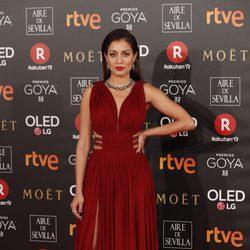 Hiba Abouk en la alfombra roja de los Premios Goya 2018