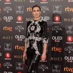 Nieves Álvarez en la alfombra roja de los Premios Goya 2018