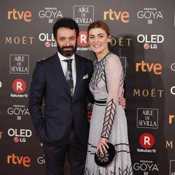 Marta Nieto y Rodrigo Sorogoyen en la alfombra roja de los Premios Goya 2018