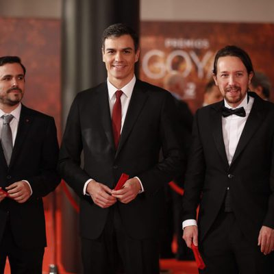 Pablo Iglesias, Alberto Garzón y Pedro Sánchez en la alfombra roja de los Premios Goya 2018