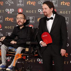 Pablo Iglesias y Pablo Echenique en la alfombra roja de los Premios Goya 2018