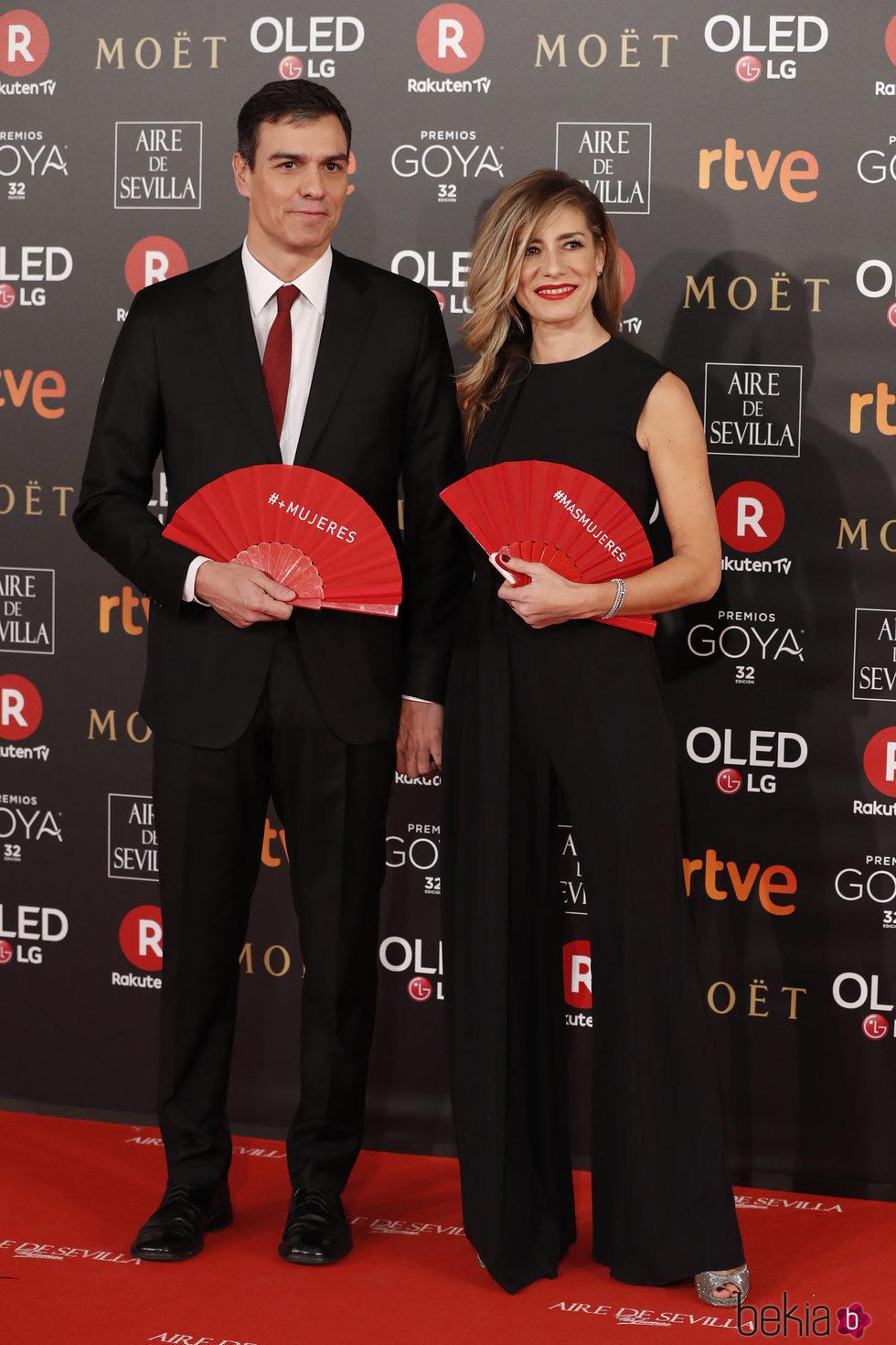 Pedro Sánchez y Begoña Gómez en la alfombra roja de los Premios Goya 2018