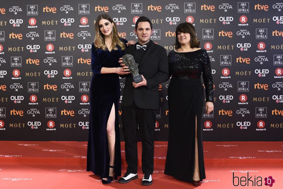 Jaume Carrio con su galardón en los Premios Goya 2018
