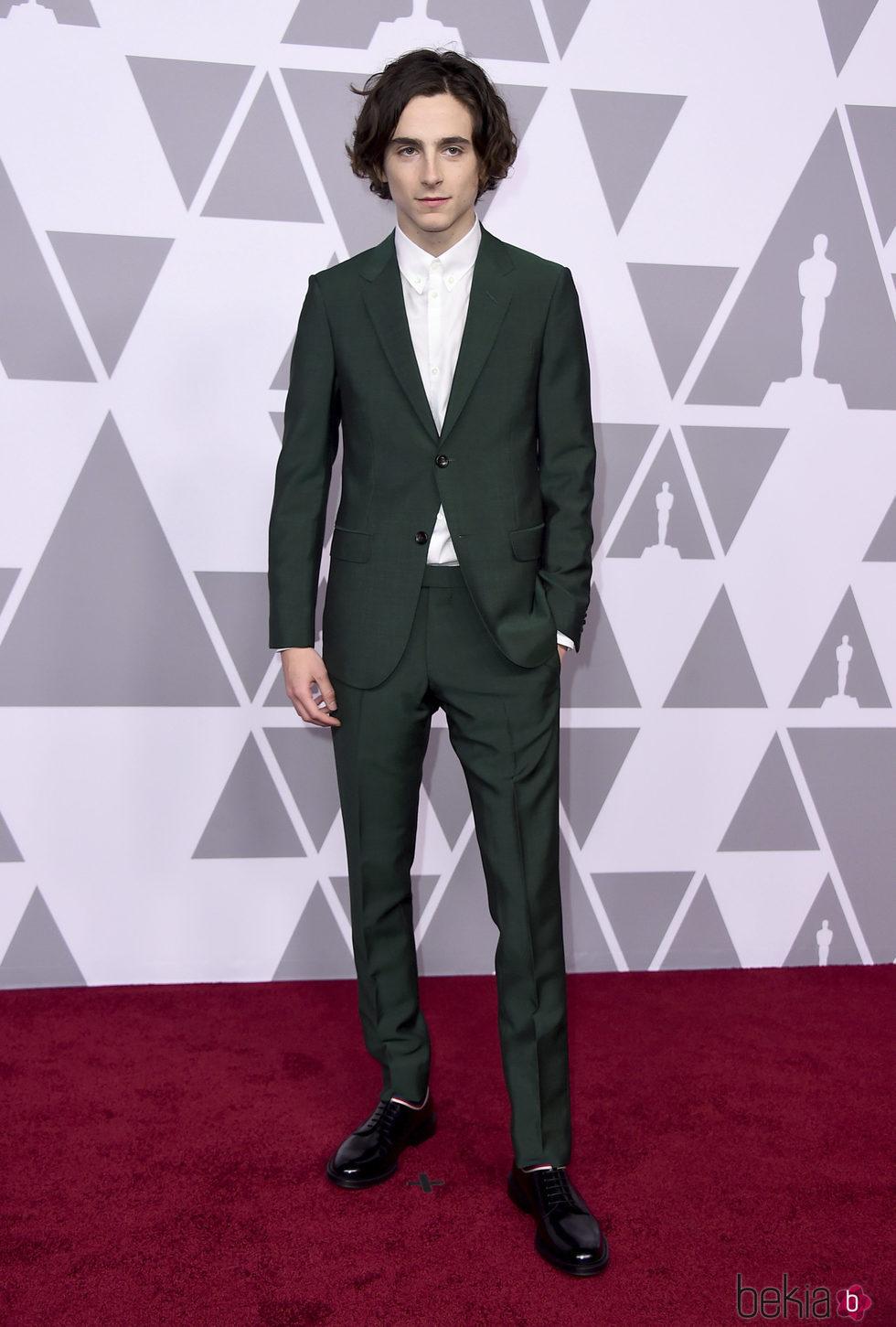 Timothee Chalamet en el almuerzo de los nominados de los Premios Oscar 2018