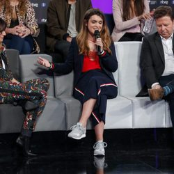 Amaia hablando durante la rueda de prensa del final de 'OT 2017'