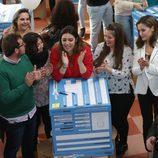La Reina Letizia con unos jóvenes del Dream BIG Challenge en Mérida