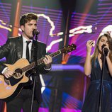Amaia y Roi cantando 'Shape of you' en la fiesta final de 'OT 2017'