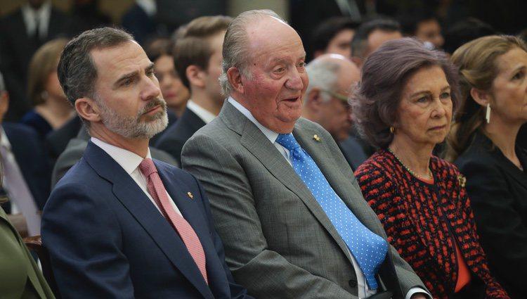 El Rey Felipe, el Rey Juan Carlos, la Reina Sofía y la Infanta Elena en la entrega de los Premios Nacionales de Deporte 2016