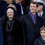 Margarita de Dinamarca, Joaquín de Dinamarca y su hijo Enrique en el funeral de Enrique de Dinamarca