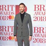 Calvin Harris en la alfombra roja de los Brit Awards 2018