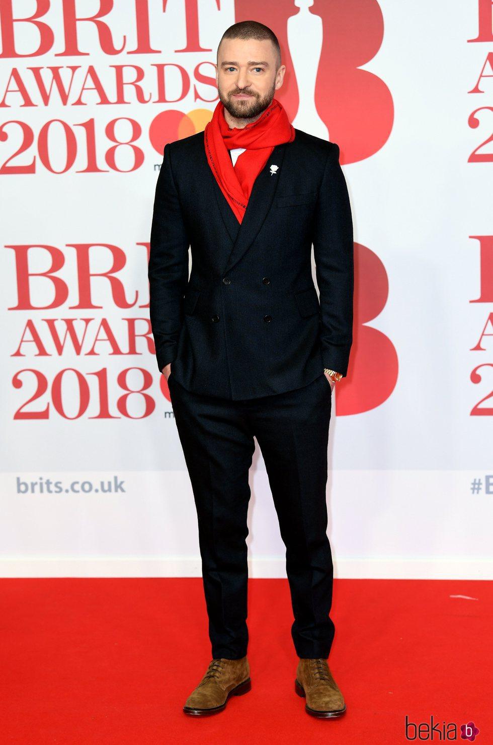Justin Timberlake en la alfombra roja de los Brit Awards 2018