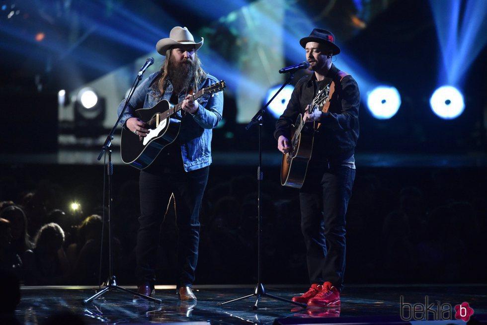 Justin Timberlake y Chris Stapleton cantando en los Brit Awards 2018