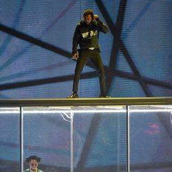 Kendrick Lamar en el escenario de los Brit Awards 2018