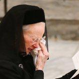 Margarita de Dinamarca llorando en el funeral de Enrique de Dinamarca
