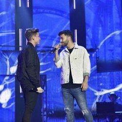 Agoney y Raoul durante los ensayos del primer concierto de la gira de 'OT 2017'
