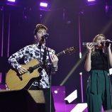 Roi y Amaia durante los ensayos del primer concierto de la gira de 'OT 2017'