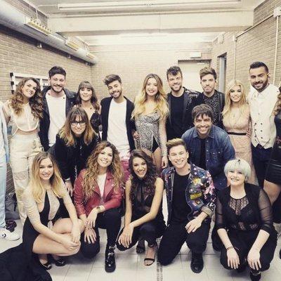 Los concursantes de 'OT 2017' en el backstage de su primer concierto en Barcelona