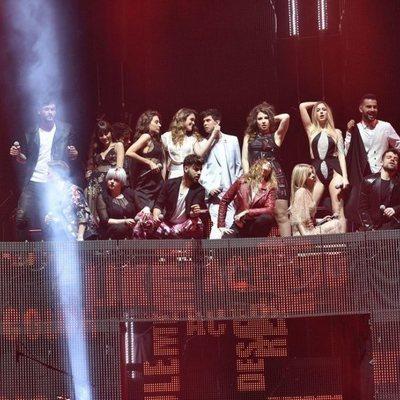 Los concursantes de 'OT 2017' durante el primer concierto de la gira de 'OT 2017' en Barcelona