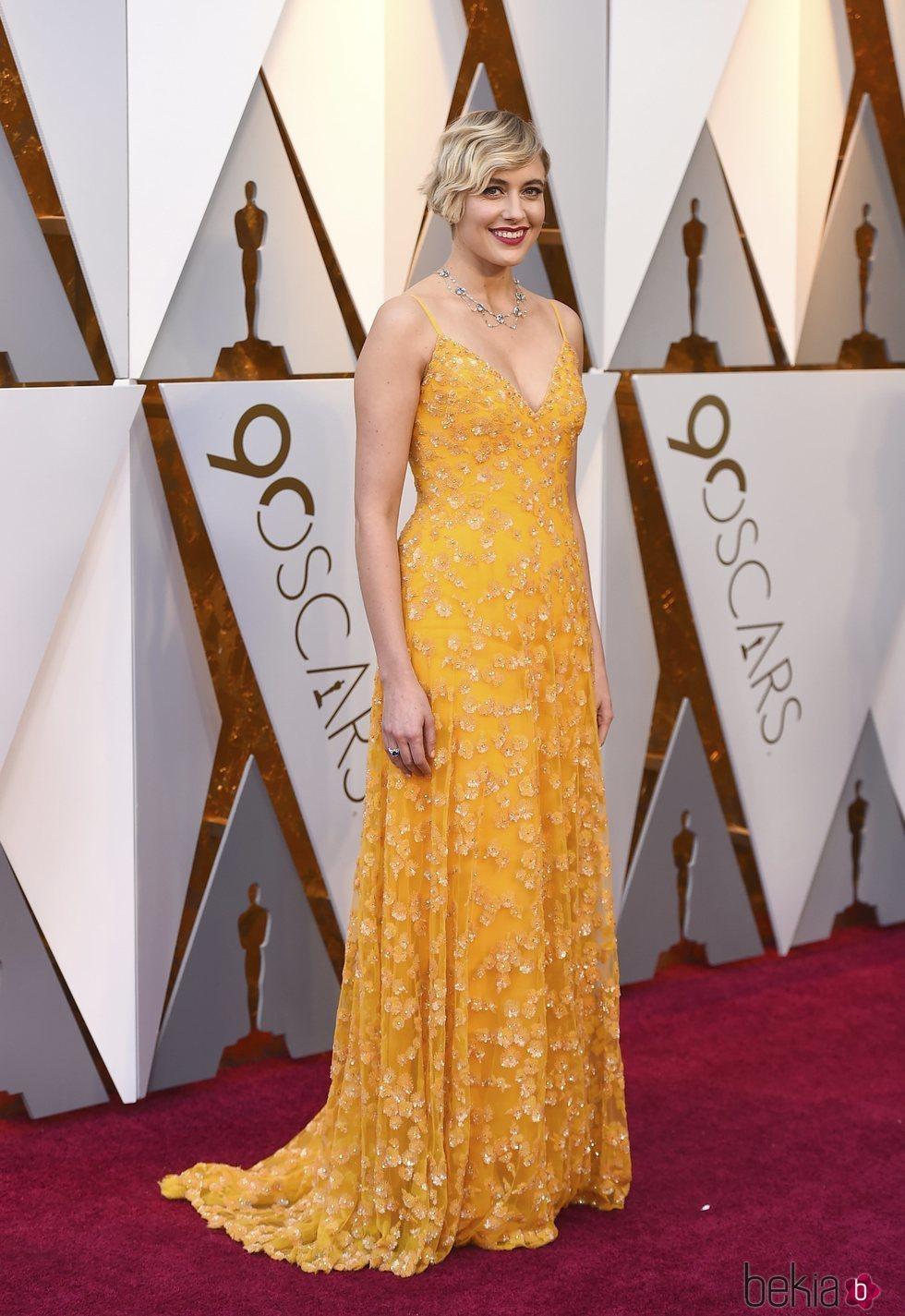 Greta Gerwig en la alfombra roja de los Premios Oscar 2018