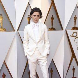 Timothee Chalamet en la alfombra roja de los Premios Oscar 2018